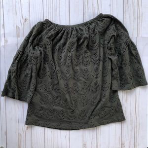 Lucky off the shoulder green eyelet bellsleeve top